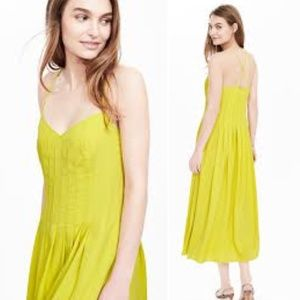 Chartreuse Pleated Strappy Maxi Dress Size 6